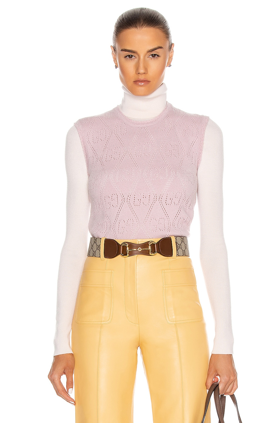Image 1 of Gucci Sleeveless Sweater in Rose