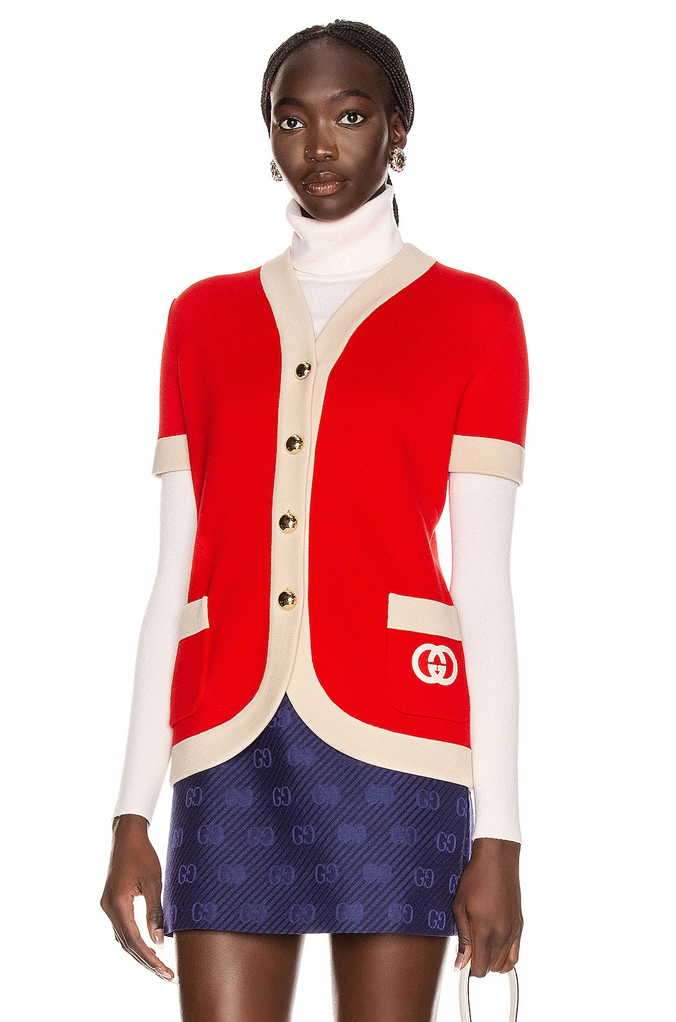 Image 1 of Gucci Short Sleeve Cardigan in Red & Ivory