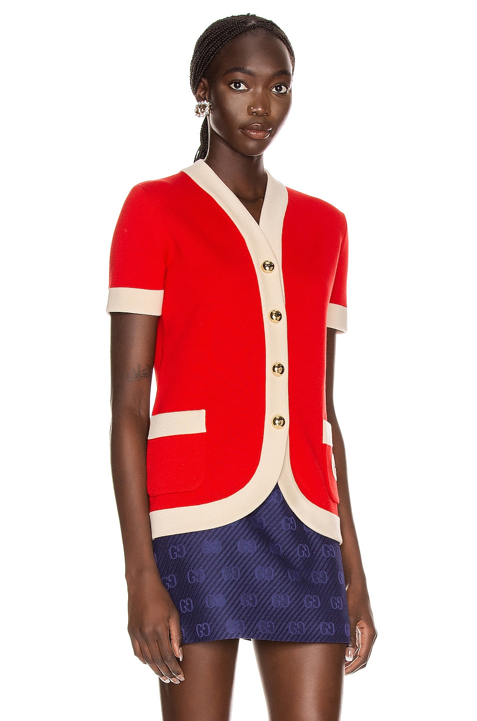 Image 3 of Gucci Short Sleeve Cardigan in Red & Ivory
