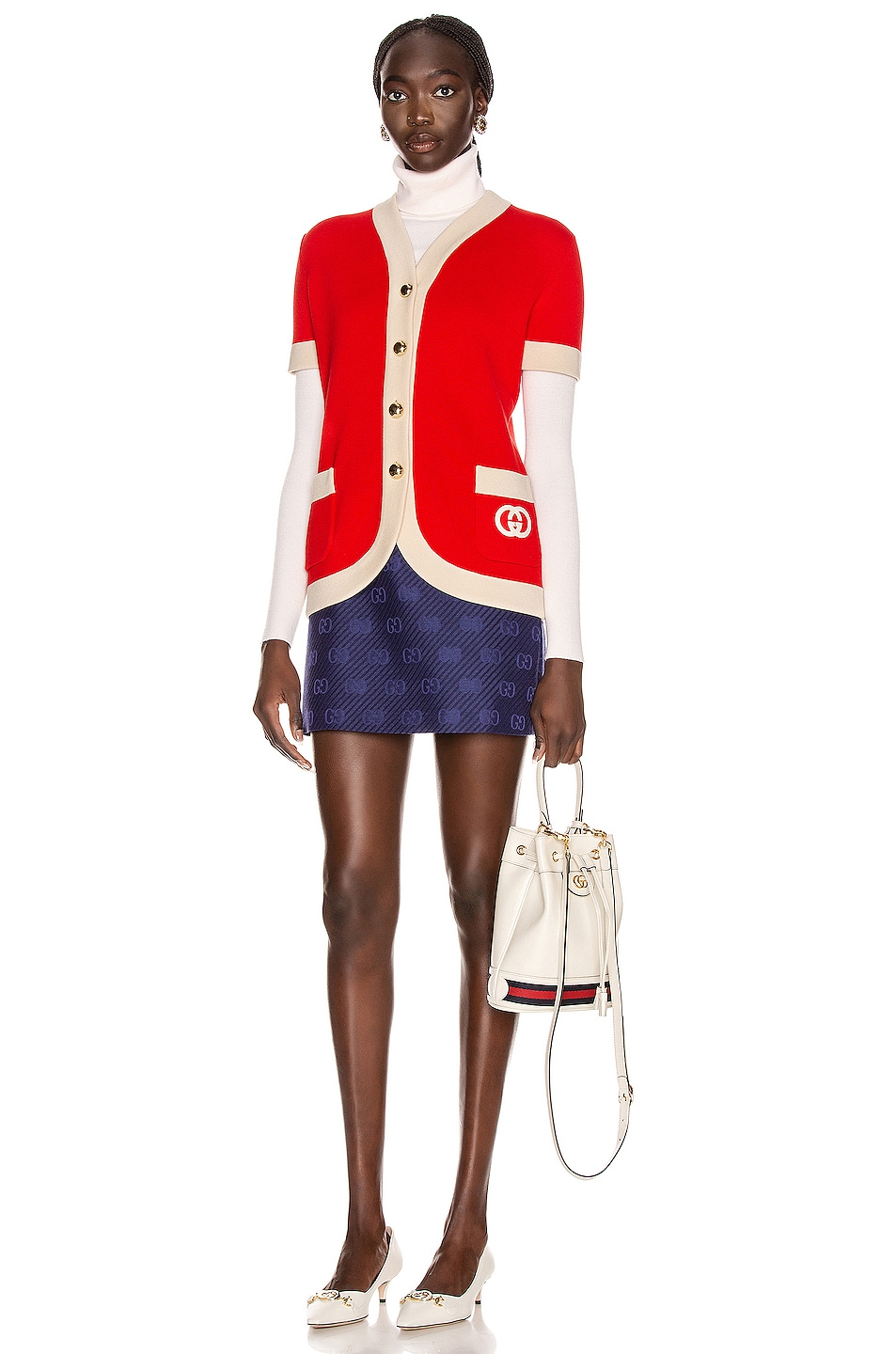 Image 6 of Gucci Short Sleeve Cardigan in Red & Ivory