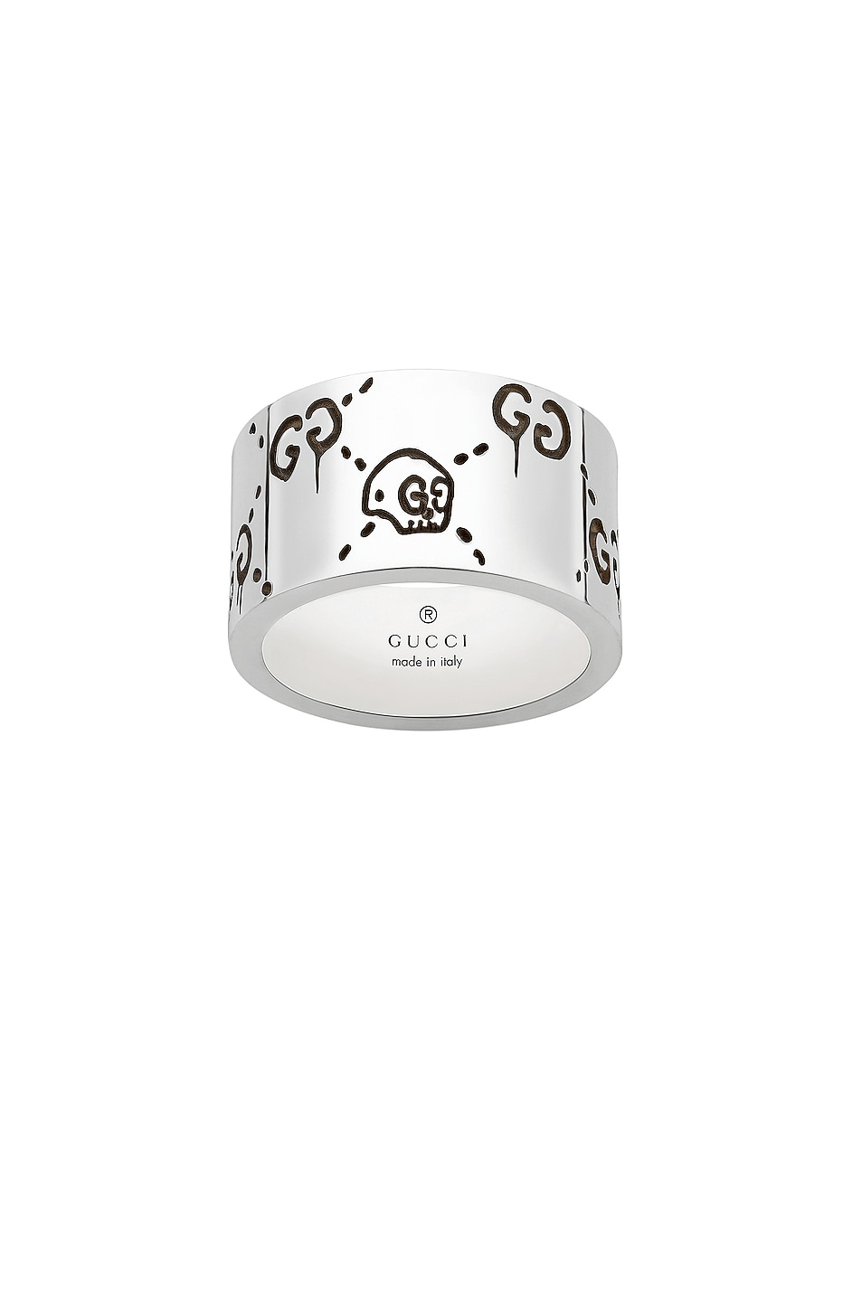 Image 1 of Gucci GucciGhost Wide Ring in Sterling Silver & Black