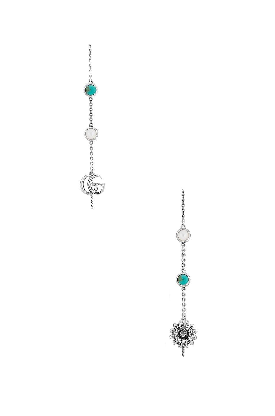 Image 1 of Gucci GG Marmont Threader Earrings in Sterling Silver & Turquoise