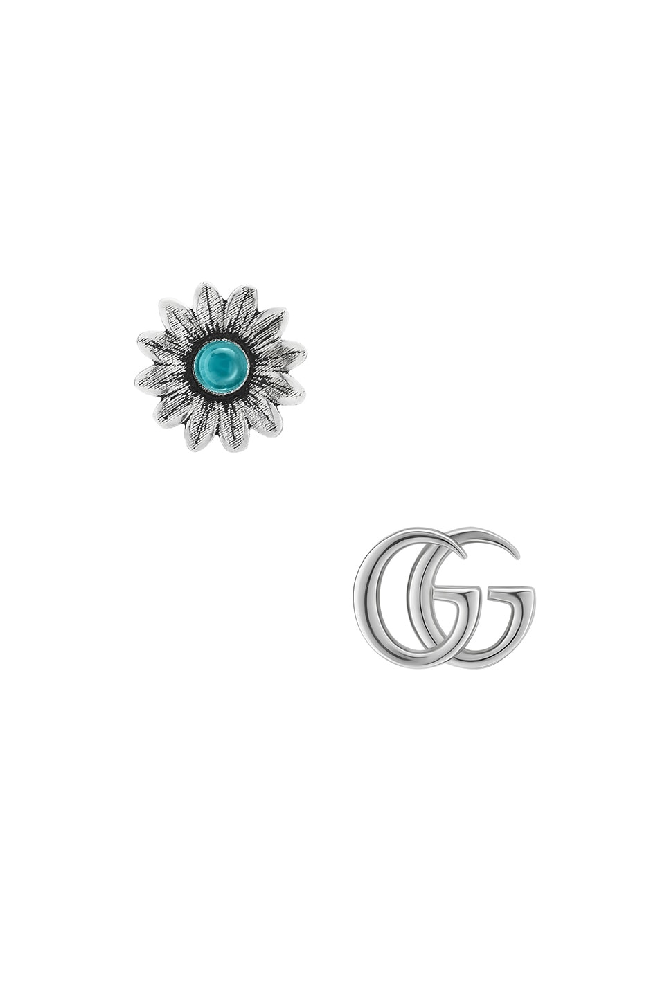 8bd9f70b2f5 Image 1 of Gucci GG Marmont Mismatched Stud Earrings in Sterling Silver    Topaz