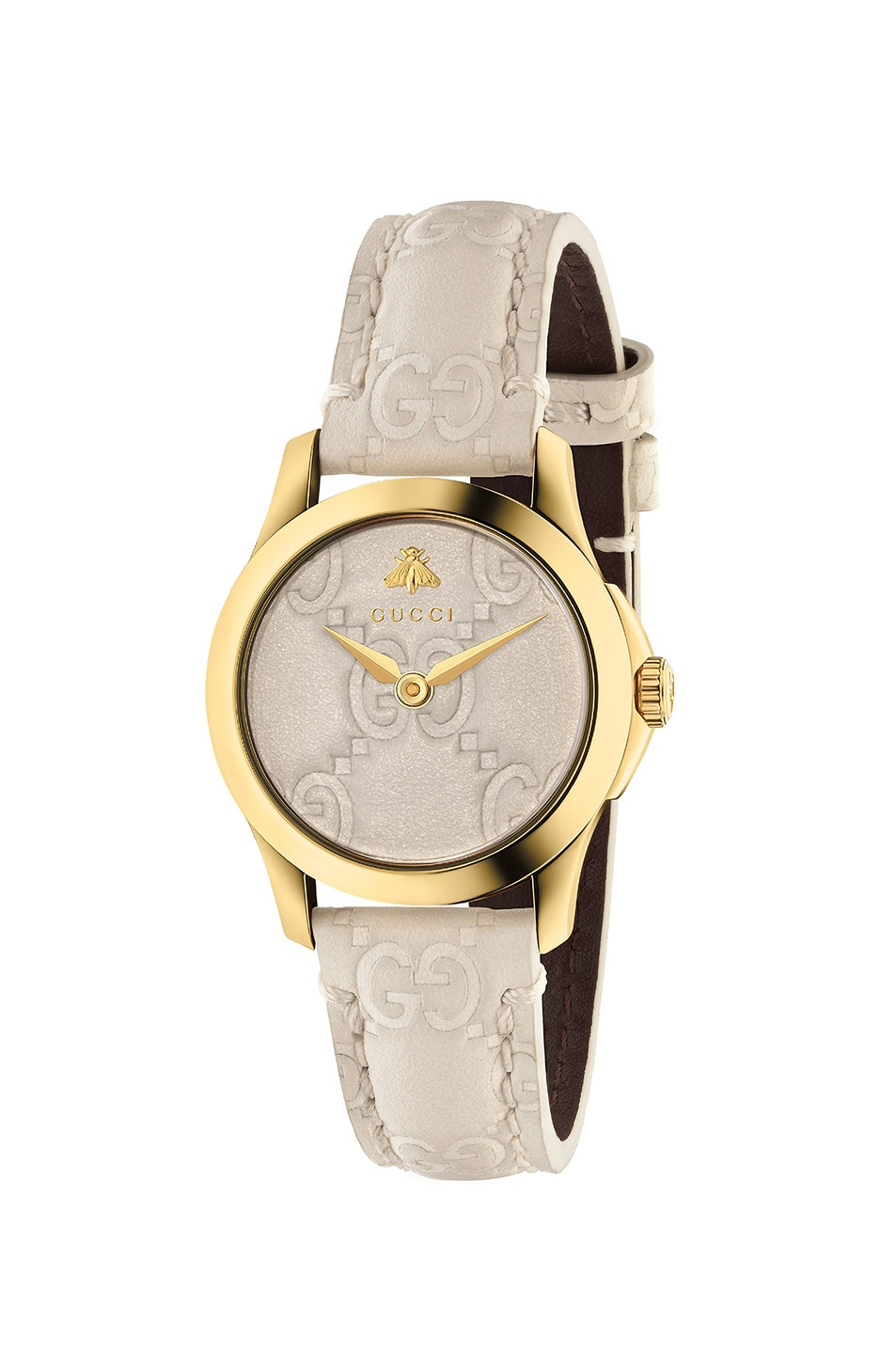 Image 1 of Gucci 27MM G-Timeless Logo Embossed Strap Watch in White