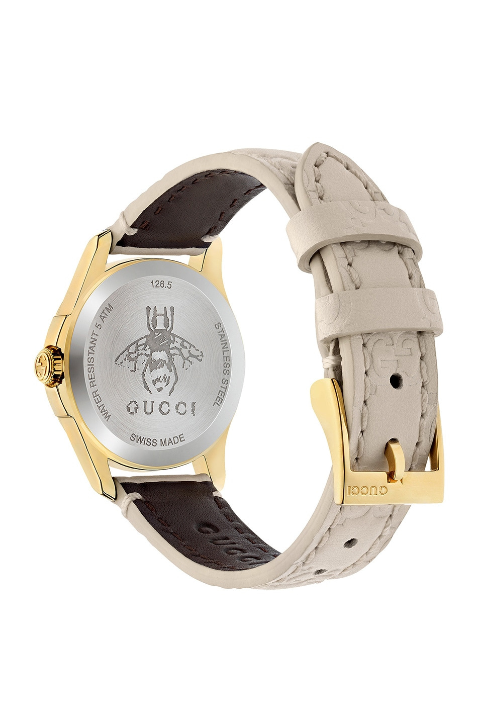 Image 2 of Gucci 27MM G-Timeless Logo Embossed Strap Watch in White