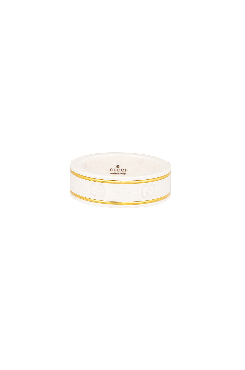 Image 1 of Gucci Icon Thin Ring in White & Yellow Gold
