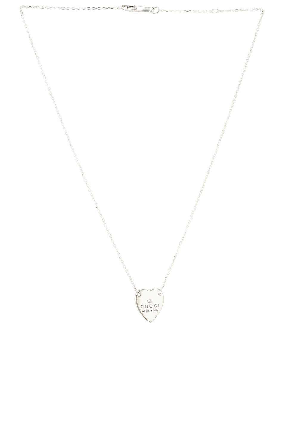 Image 1 of Gucci Engraved Heart Pendant Necklace in Sterling Silver