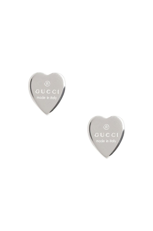 Image 1 of Gucci Heart Trademark Stud Earrings in Sterling Silver