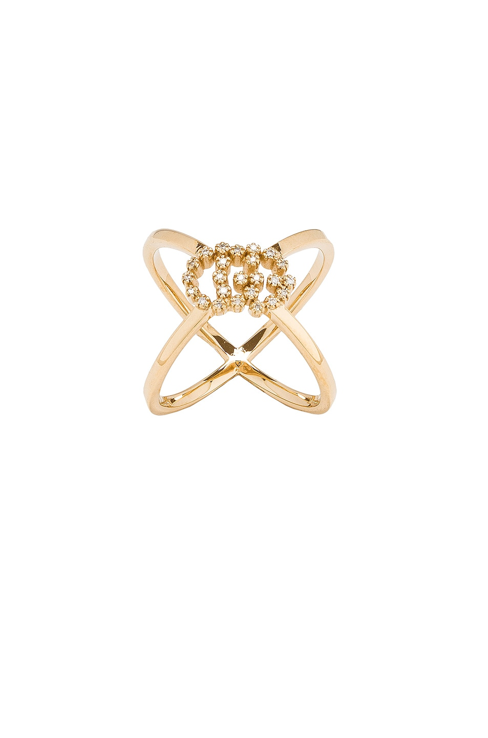 Image 1 of Gucci Running G Cross Diamond Ring in Yellow Gold