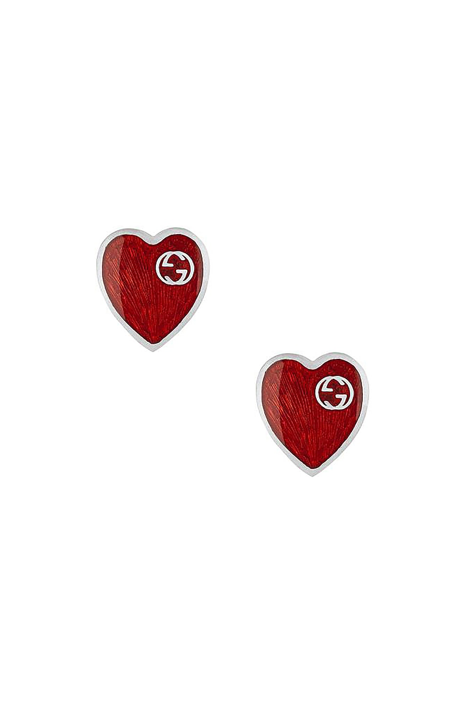 Image 1 of Gucci XS Heart Earrings in Silver & Red