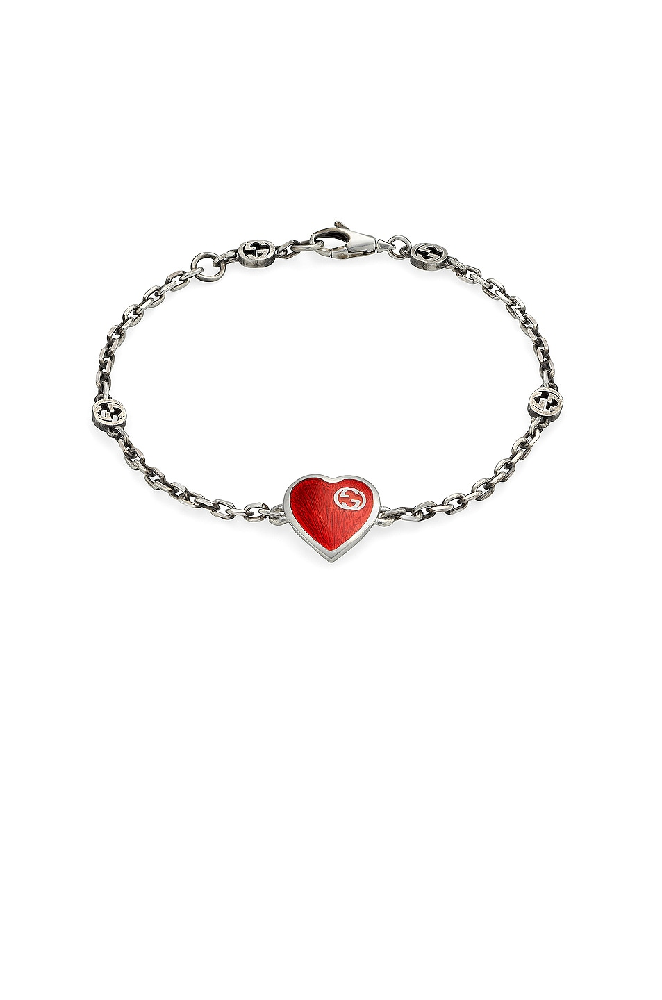 Image 1 of Gucci XS Heart Bracelet in Silver & Red