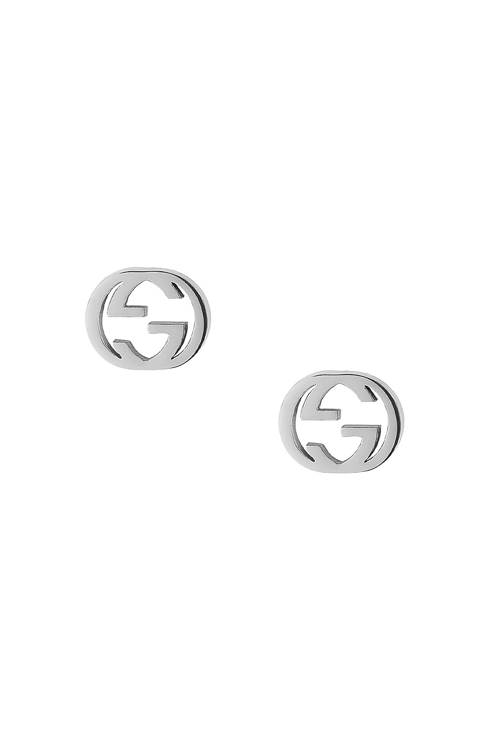 Image 1 of Gucci Interlocking G Butterfly Clasp Earrings in White Gold