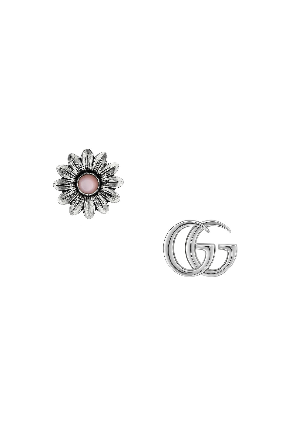 Image 1 of Gucci GG Marmont Flower Earrings in Silver & Pink