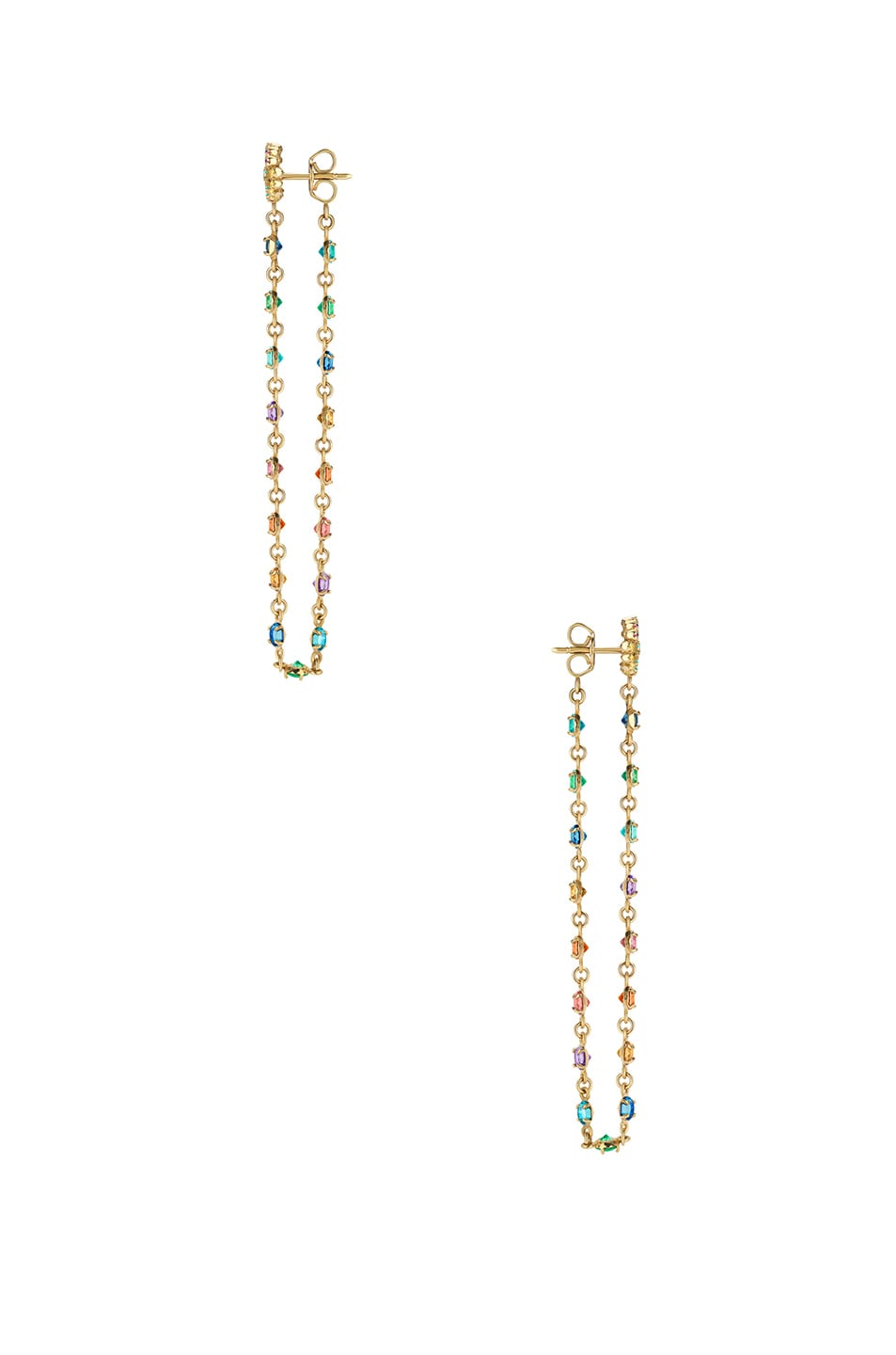 Image 2 of Gucci GG Running Long Pendant Earrings in 18KT Yellow Gold & Multicolor