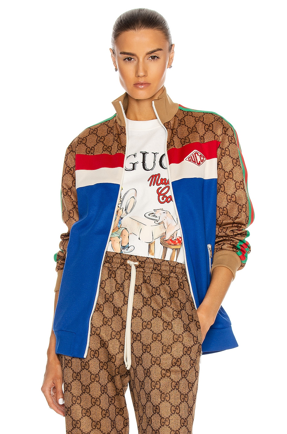 Image 1 of Gucci Long Sleeve Zip Jacket in Cobalt & Multicolor