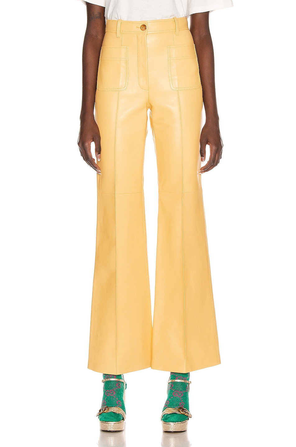 Image 1 of Gucci Leather Pant in Cornish Cream