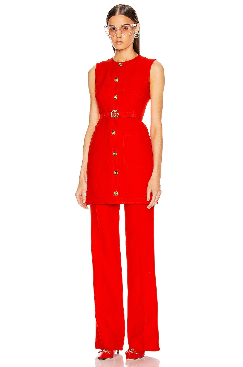 Image 4 of Gucci Flare Pant in Pomegrante Flower