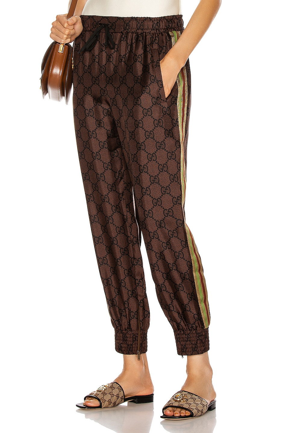 Image 1 of Gucci GG Jersey Pant in Brown Nut & Black & Mc