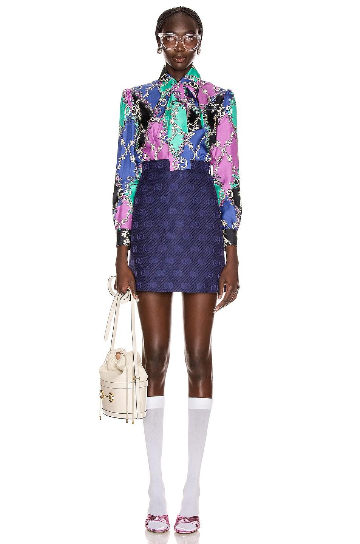 Image 4 of Gucci GG Diagonal Mini Skirt in Royal Bluette