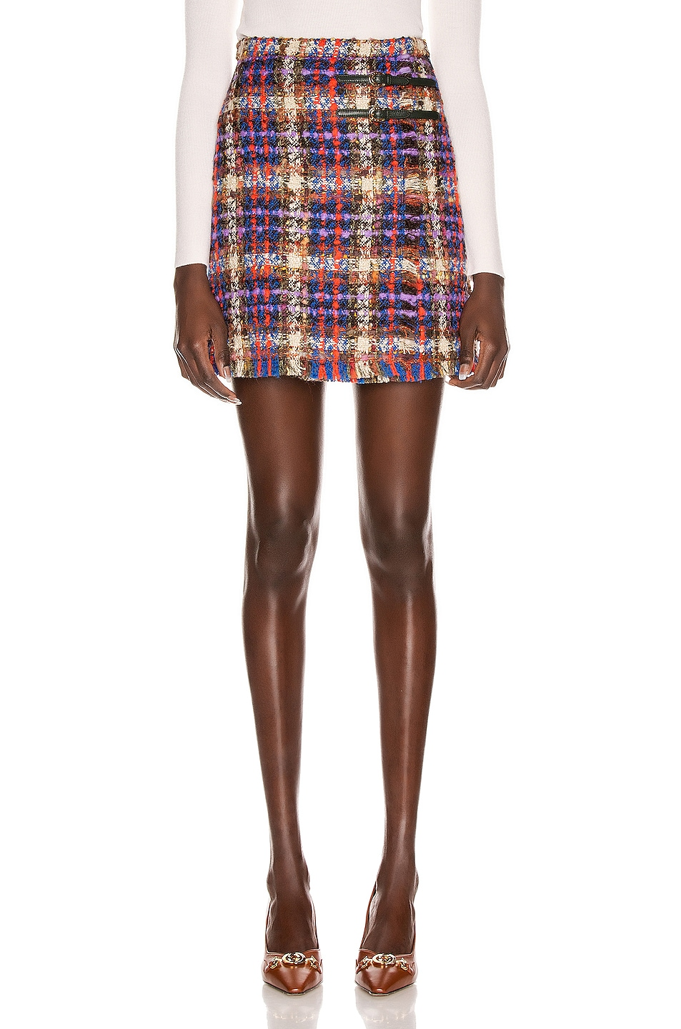 Image 1 of Gucci Tweed Mini Skirt in Blue & Red