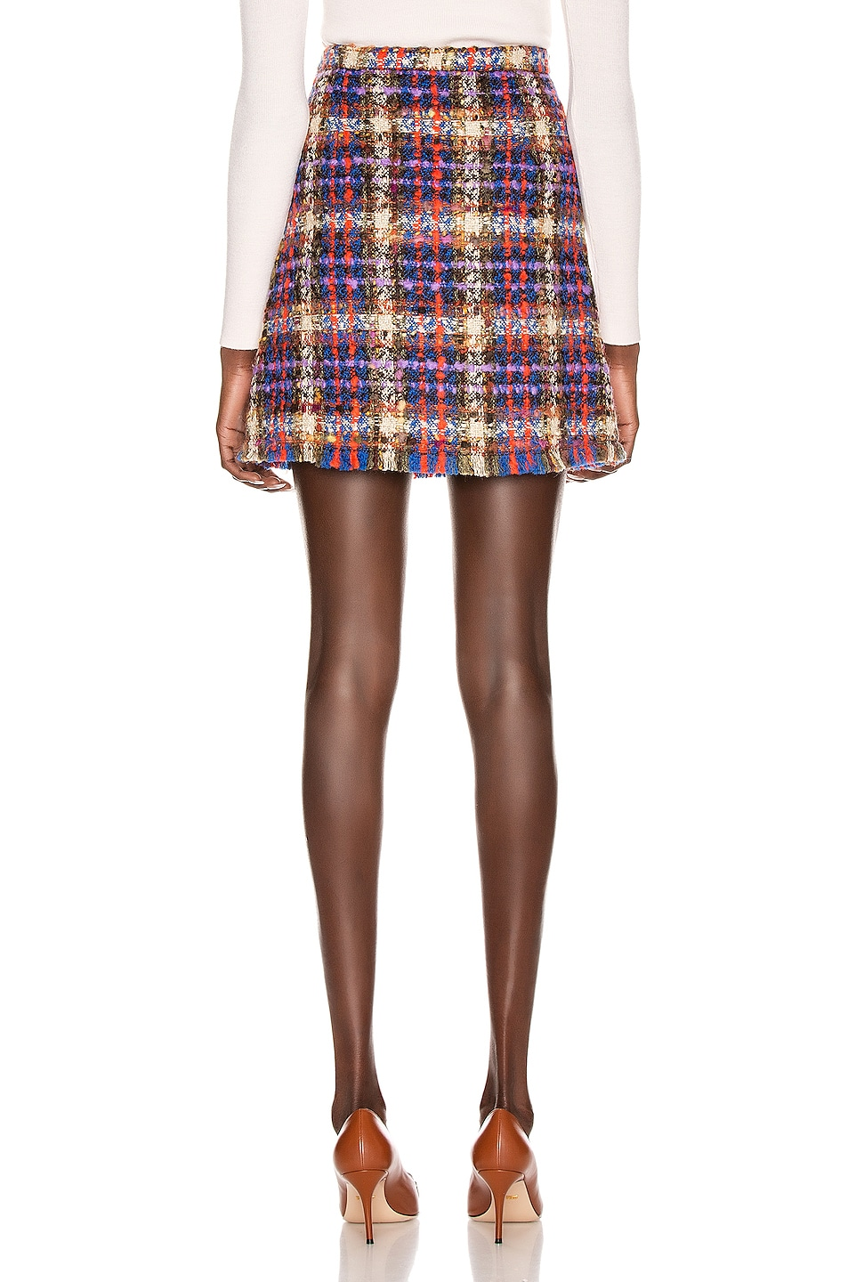 Image 3 of Gucci Tweed Mini Skirt in Blue & Red