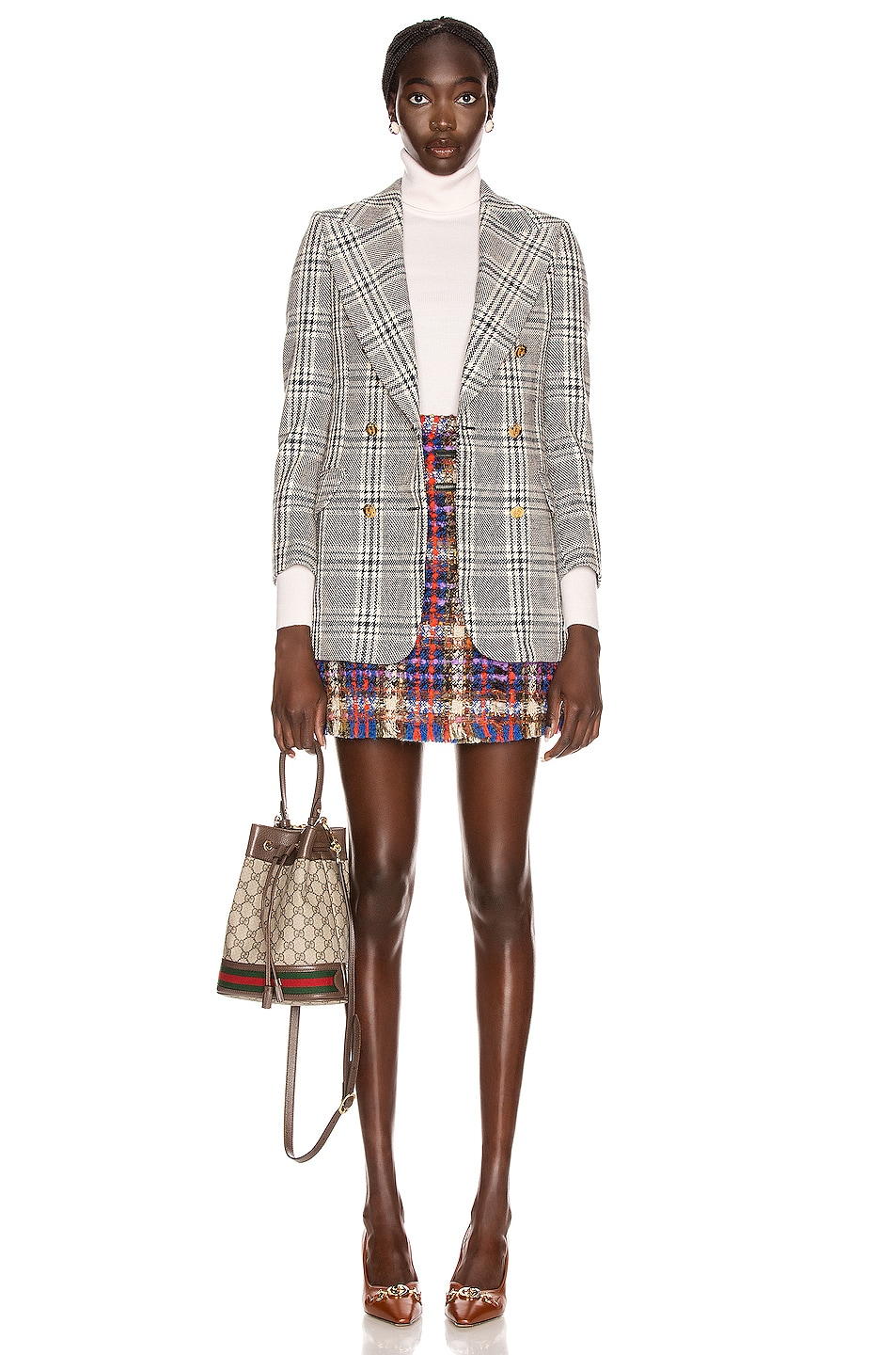 Image 4 of Gucci Tweed Mini Skirt in Blue & Red