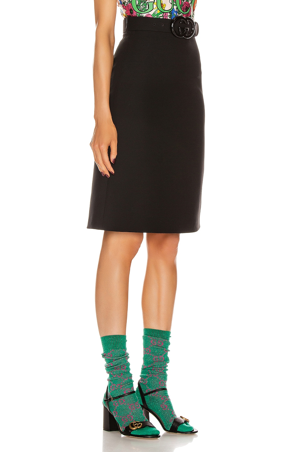 Image 2 of Gucci Belted Mini Skirt in Black