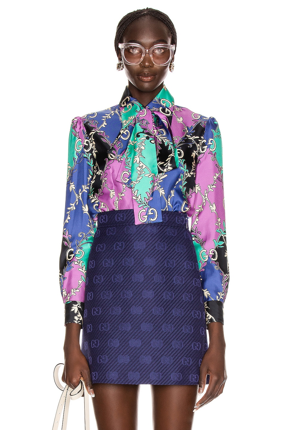 Image 1 of Gucci GG Rhombus Blouse in Violet & Black