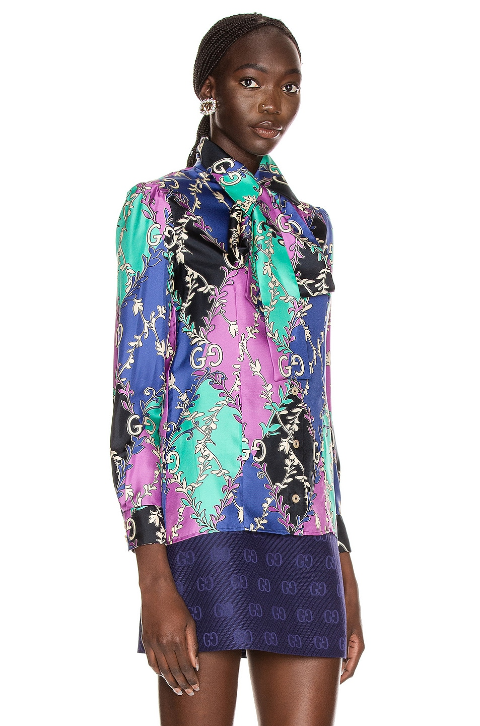 Image 2 of Gucci GG Rhombus Blouse in Violet & Black