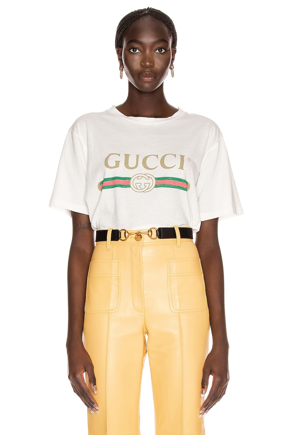 Image 1 of Gucci Logo Short Sleeve T Shirt in Natural White