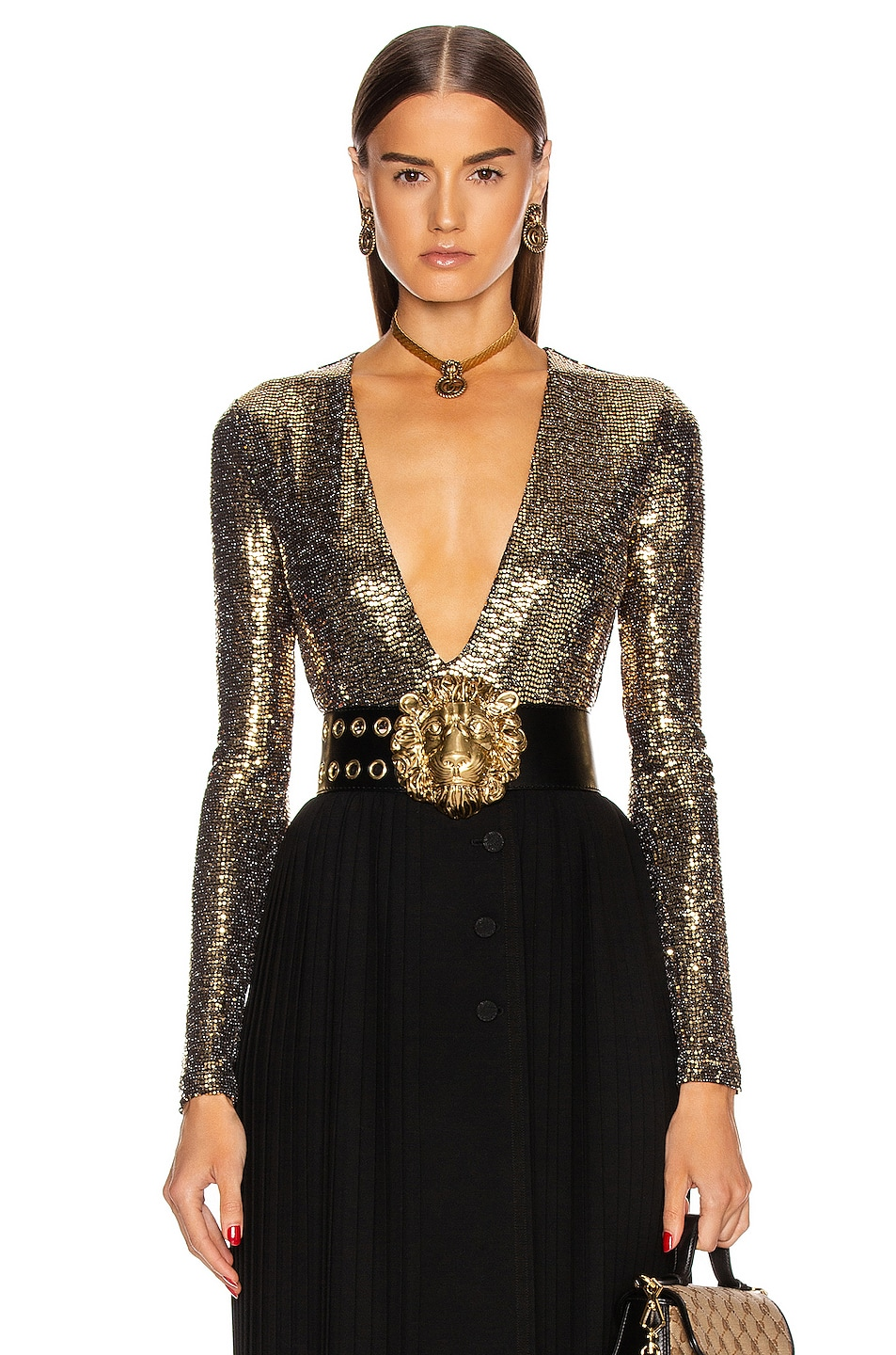 Image 1 of Gucci Long Sleeve Bodysuit in Black & Gold