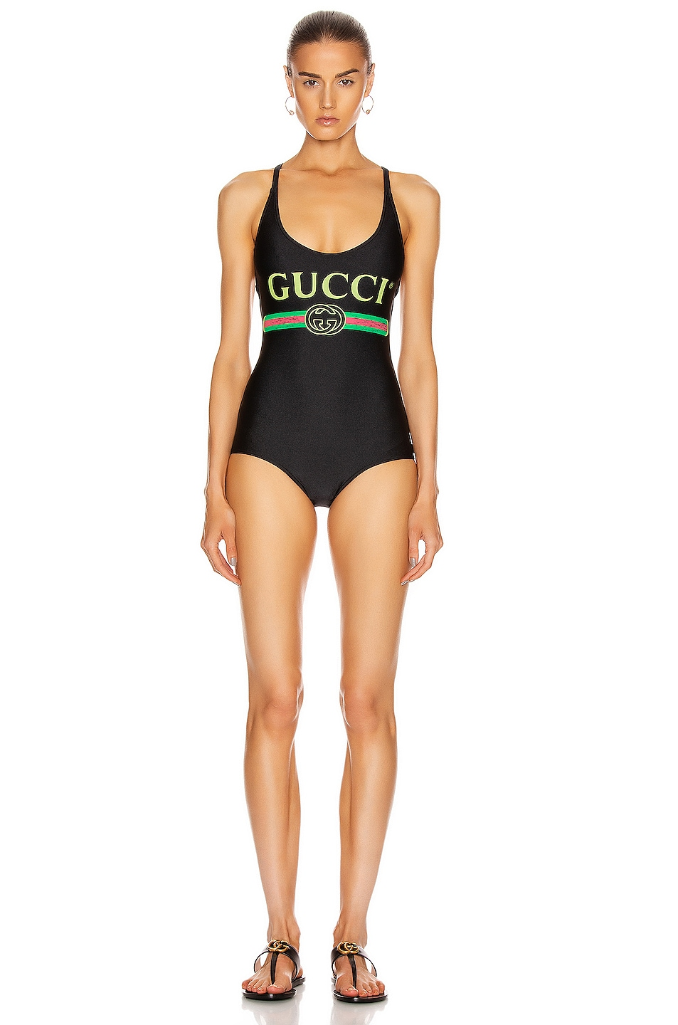Image 1 of Gucci Logo One Piece Swimsuit in Black & Multicolor