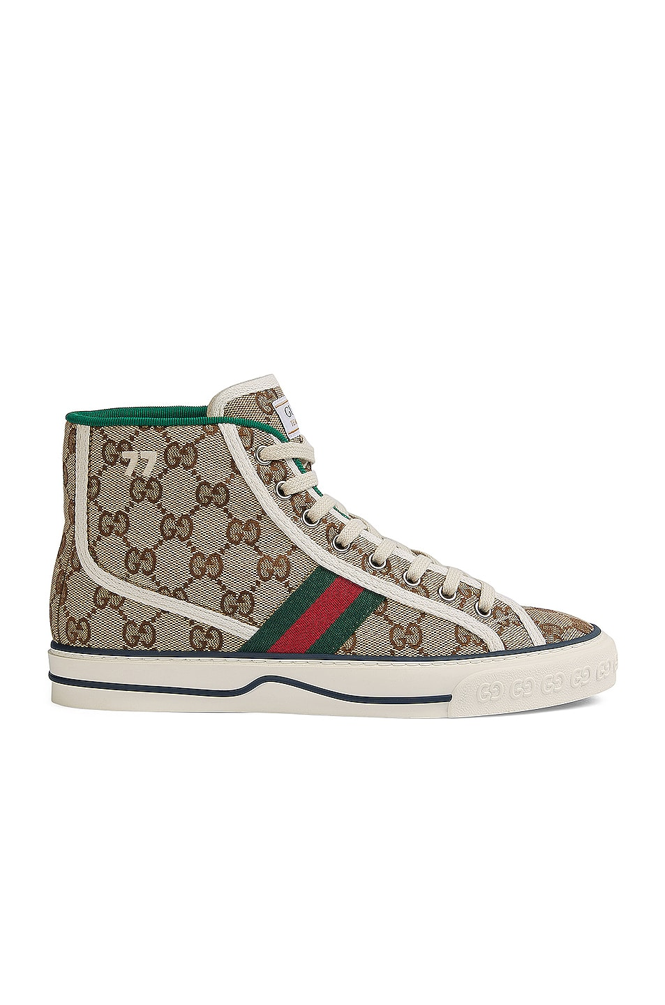 Image 1 of Gucci Tennis 1977 High Booties in Beige Ebony & Mystic White