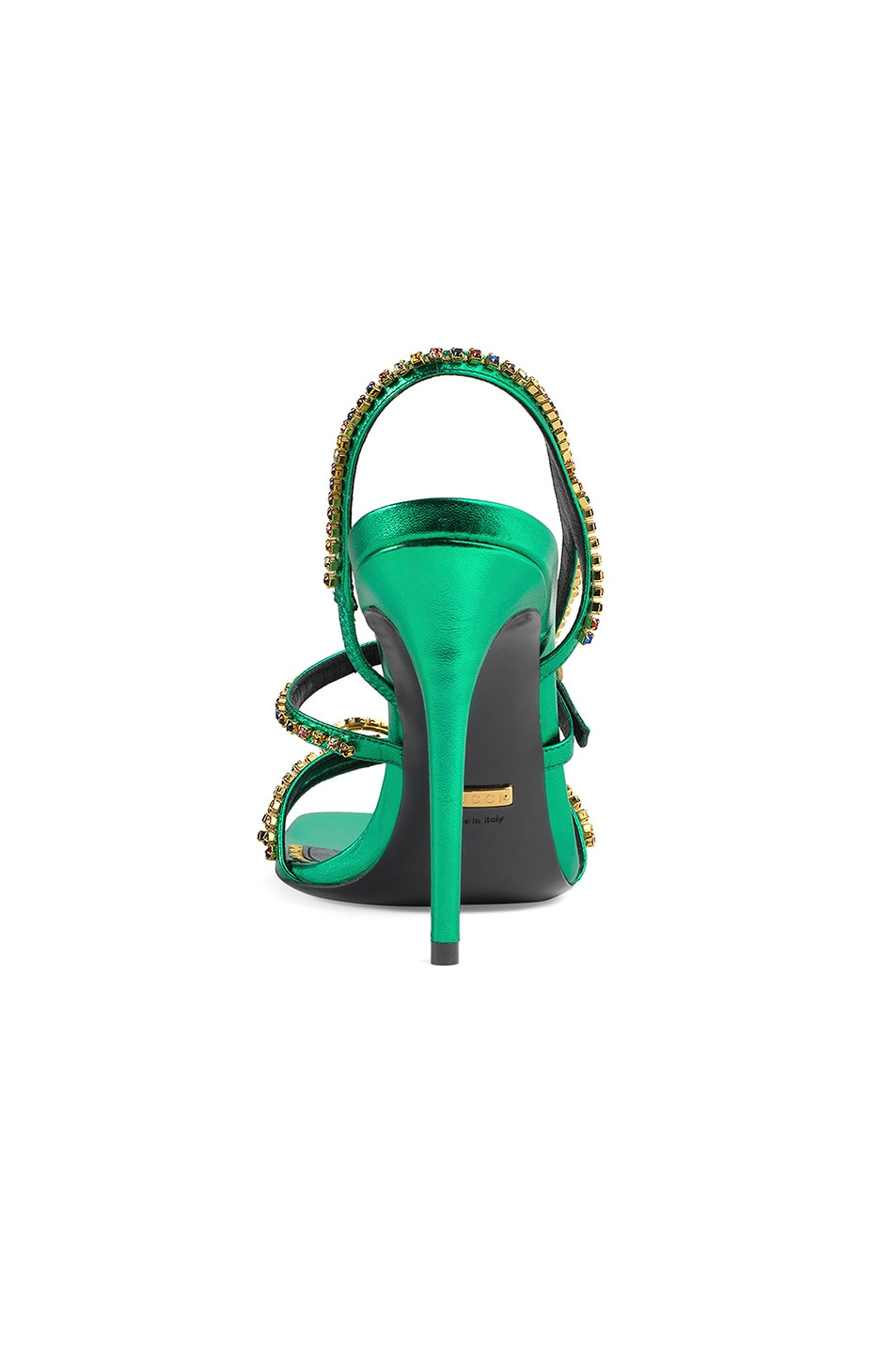 Image 3 of Gucci Metallic Strap Sandals in Jasmine Green