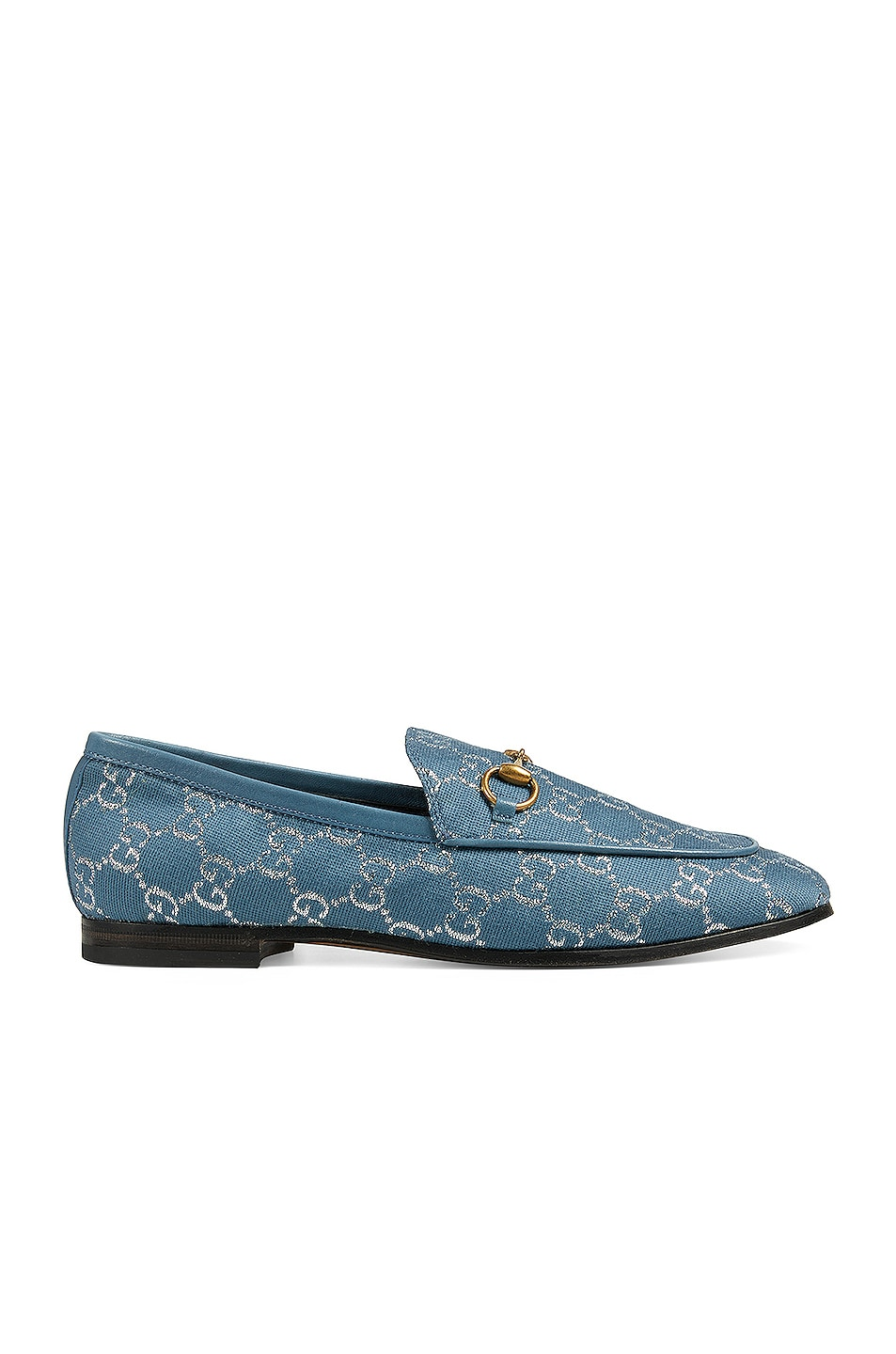Image 1 of Gucci New Jordaan Moccasins in Blue & Silver