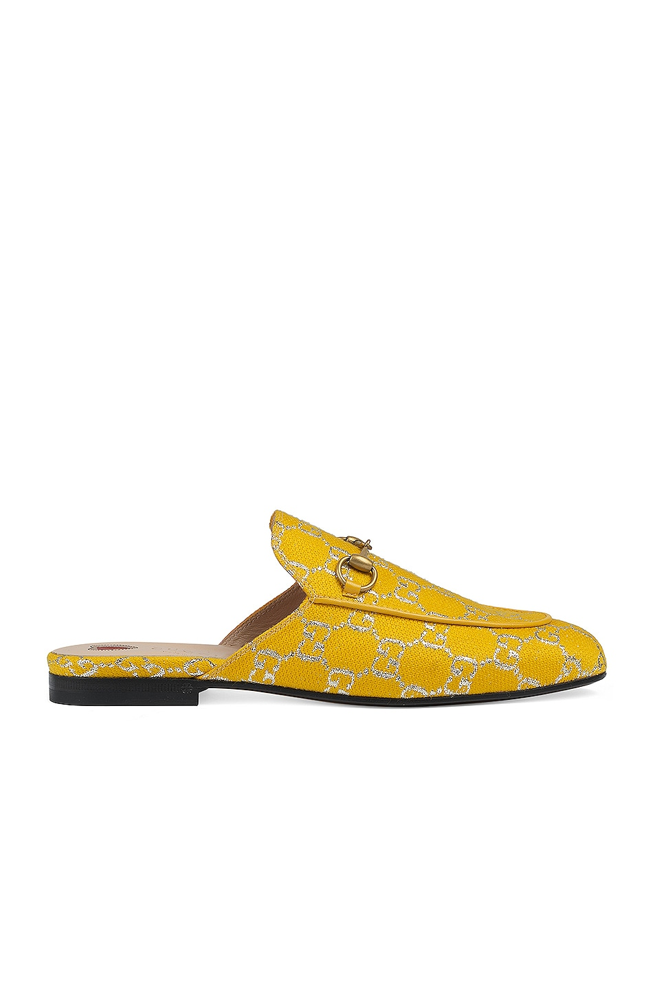 Image 1 of Gucci Princetown Fabric Sandals in Yellow & Silver