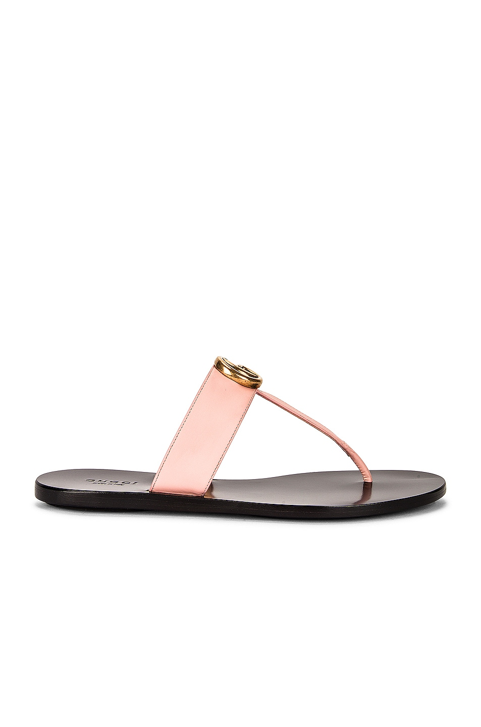 Image 1 of Gucci Double G Leather Thong Sandals in Pink