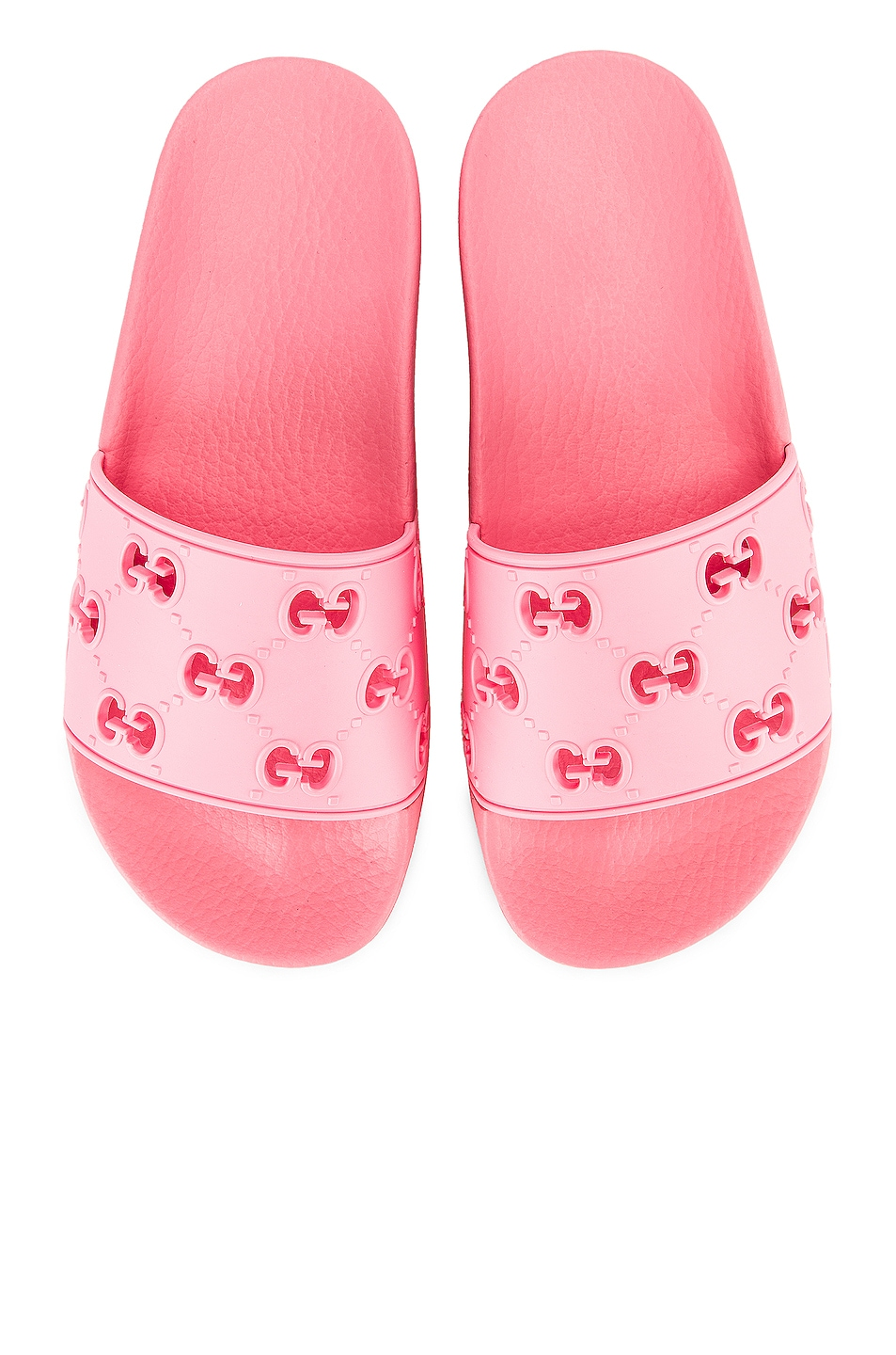 Image 1 of Gucci Bee Rubber Slides in Pink