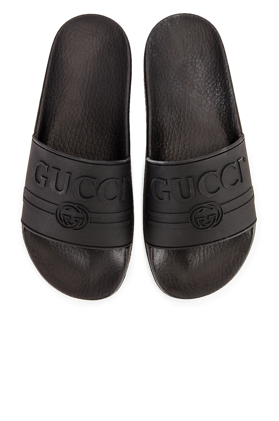 Image 1 of Gucci Logo Rubber Slides in Black