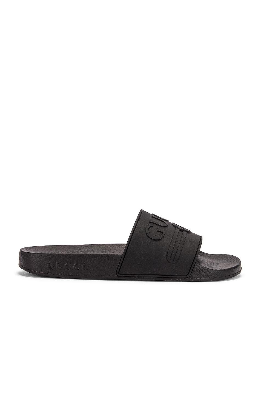 Image 2 of Gucci Pursuit Rubber Slides in Black
