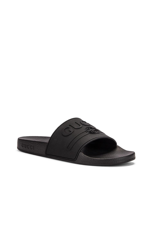 Image 3 of Gucci Pursuit Rubber Slides in Black