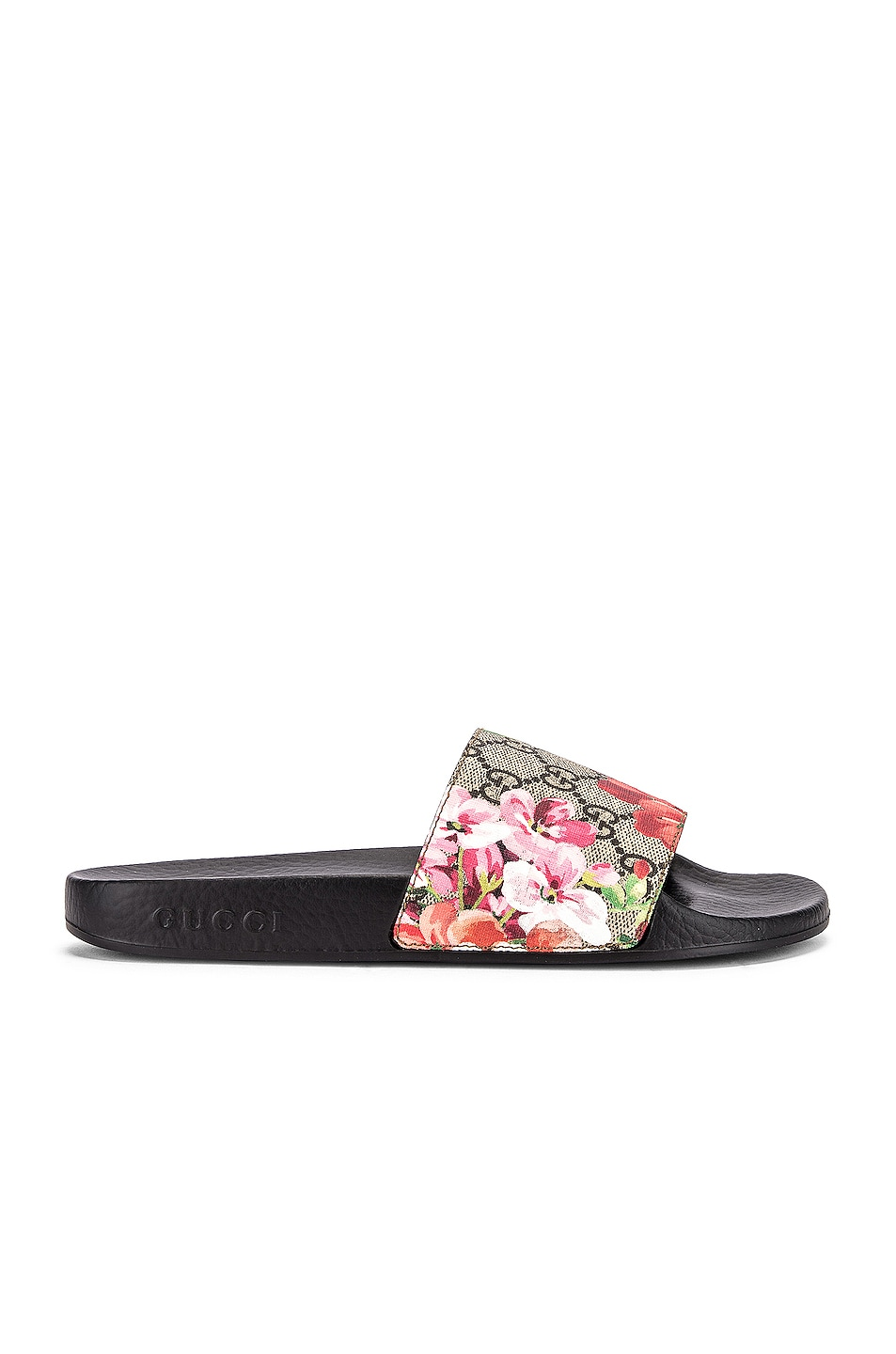 Image 2 of Gucci Pursuit GG Supreme Flora Slides in Beige Ebony & Multicolor