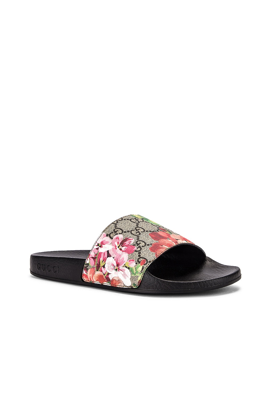Image 3 of Gucci Pursuit GG Supreme Flora Slides in Beige Ebony & Multicolor