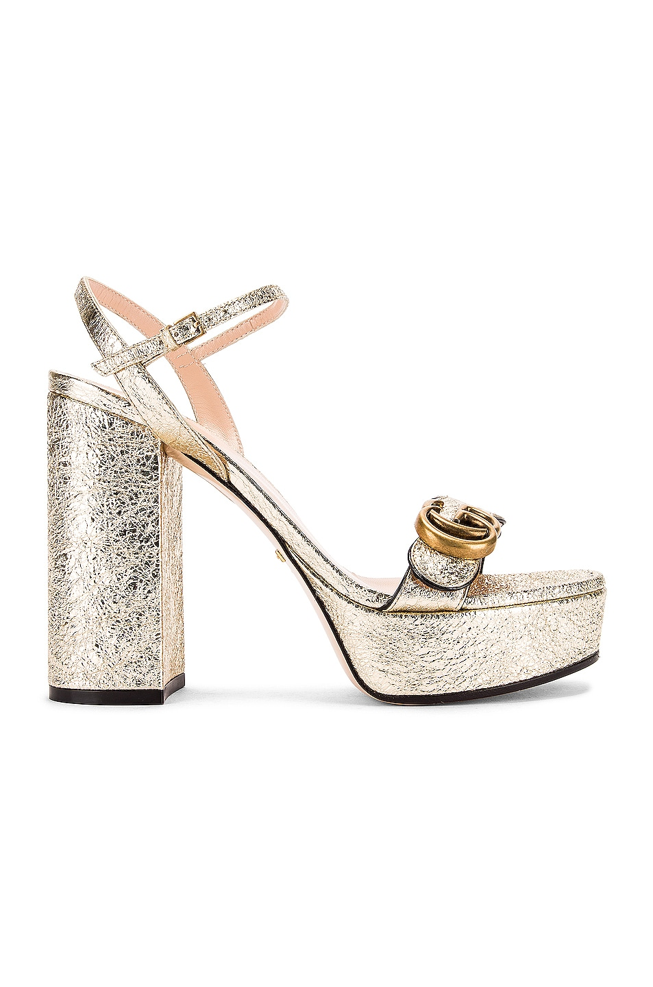 Image 2 of Gucci Double G Platform Sandals in Platino