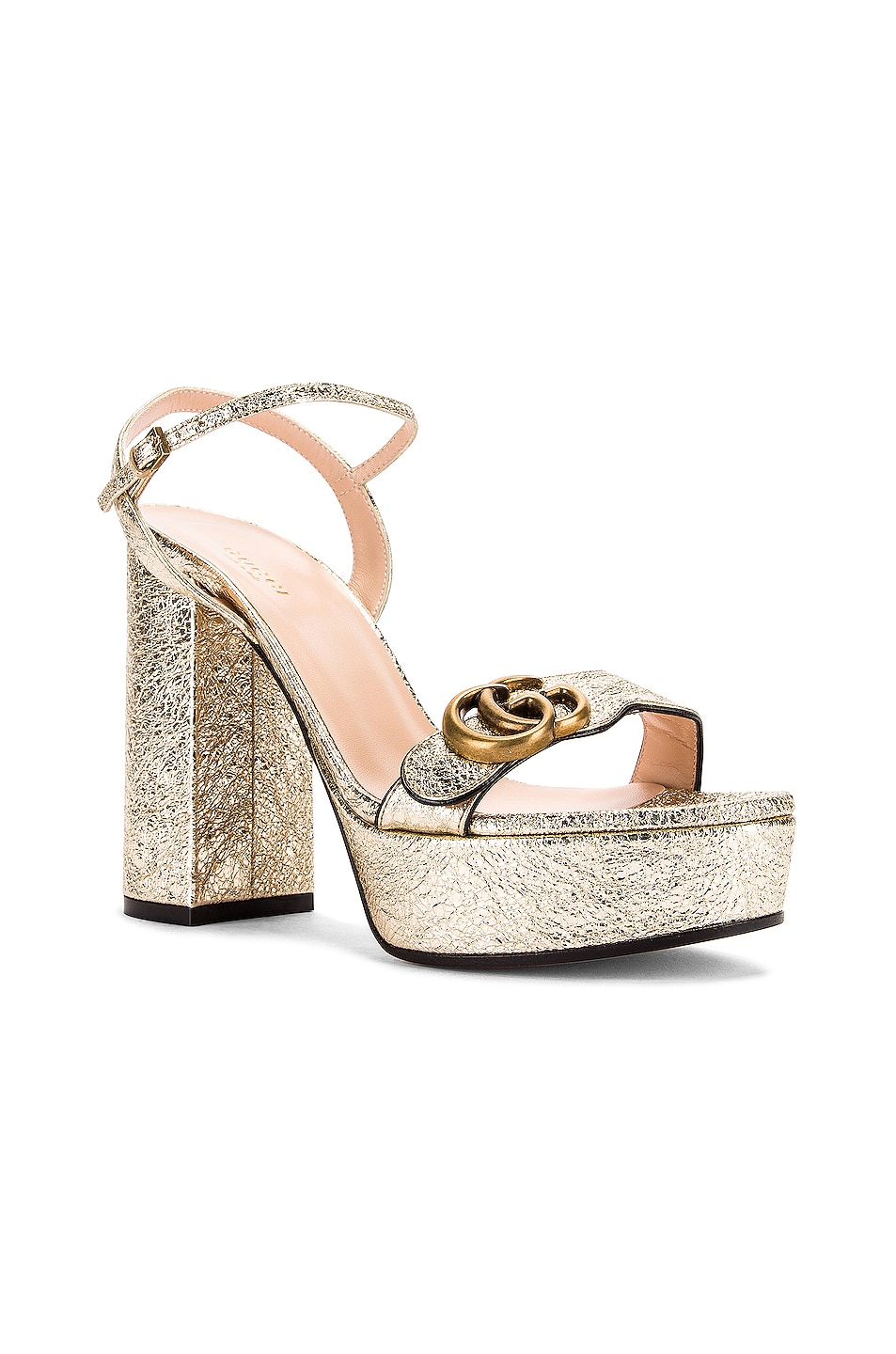 Image 3 of Gucci Double G Platform Sandals in Platino