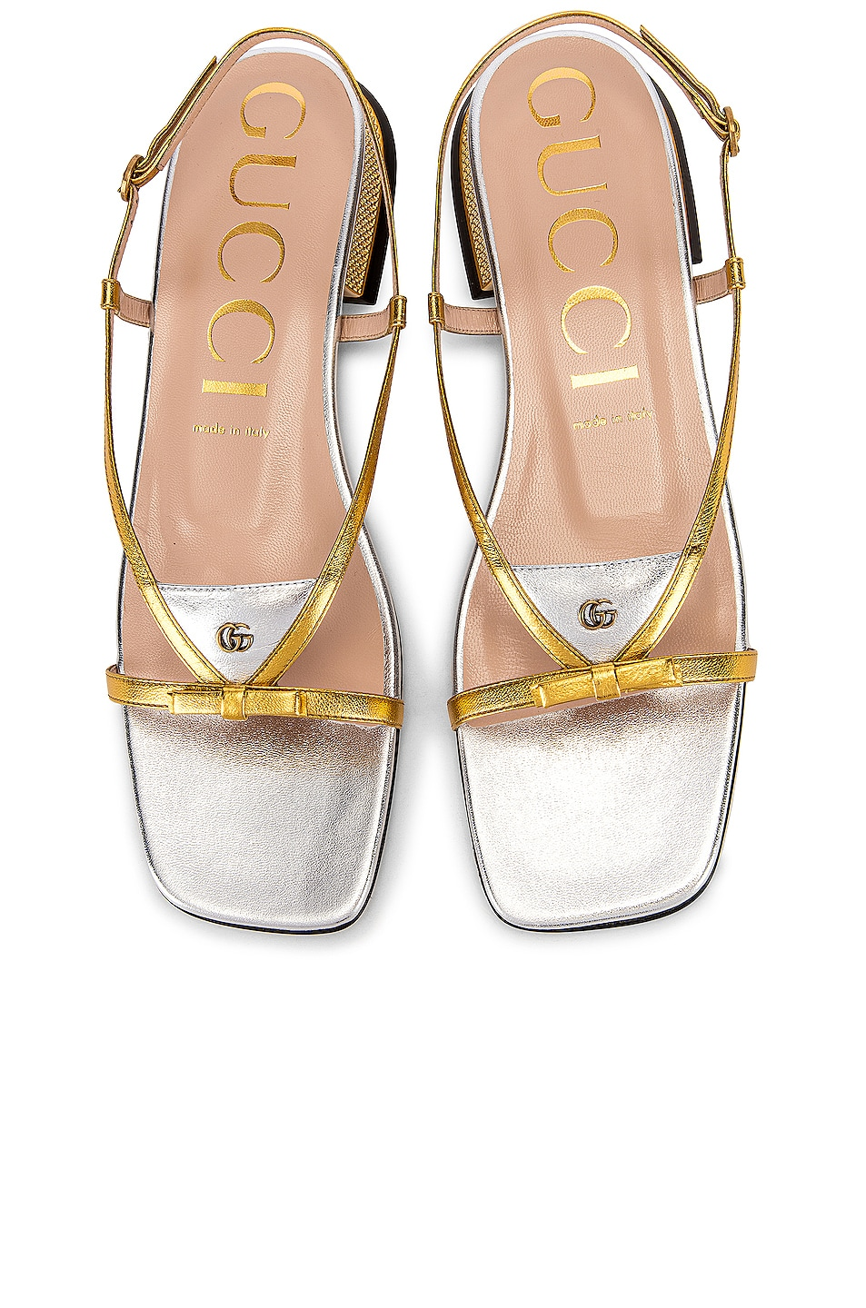 Image 1 of Gucci Alison Sandals in Gold & Silver