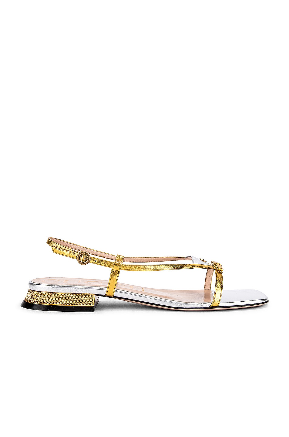Image 2 of Gucci Alison Sandals in Gold & Silver