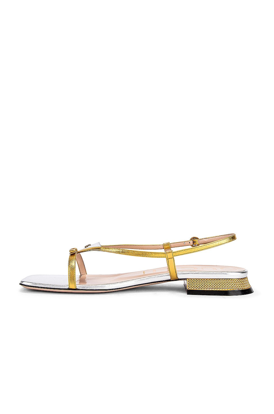 Image 5 of Gucci Alison Sandals in Gold & Silver