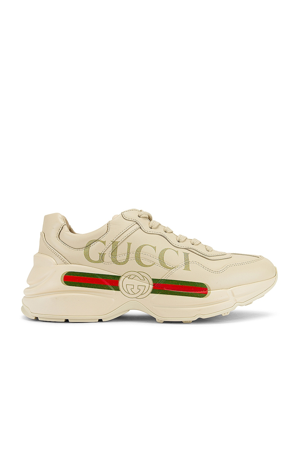 Image 1 of Gucci Rhyton Logo Sneakers in Ivory