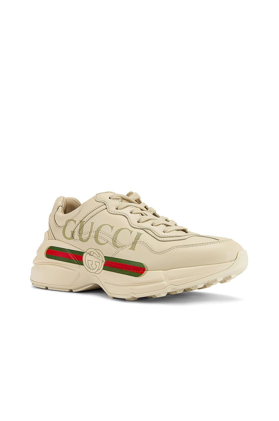 Image 2 of Gucci Rhyton Logo Sneakers in Ivory